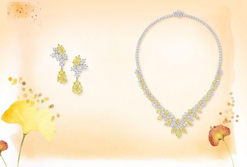 Колье Cluster из золота и платины с бриллиантами. Серьги-капли Cluster из золота и платины с бриллиантами