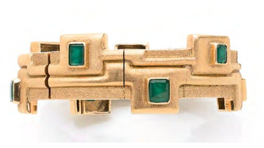 Шарнирный браслет от Гарольдо Бурле Маркса (1911–1991) из желтого золота со звеньями, образующими абстрактный узор