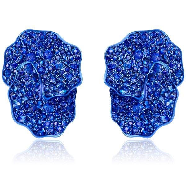 Серьги от Graziela Gems из синего золота с родием и синими сапфирами