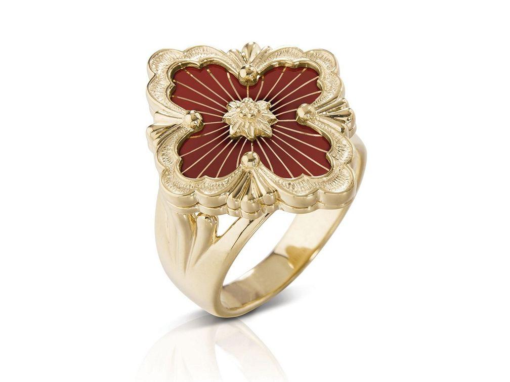 Кольцо Opera Tulle из желтого золота с красной эмалью