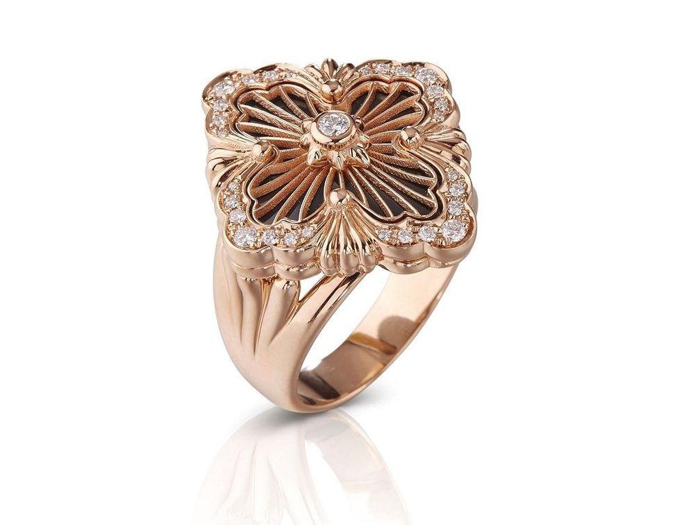 Кольцо Opera Tulle из розового золота с ониксом и бриллиантами