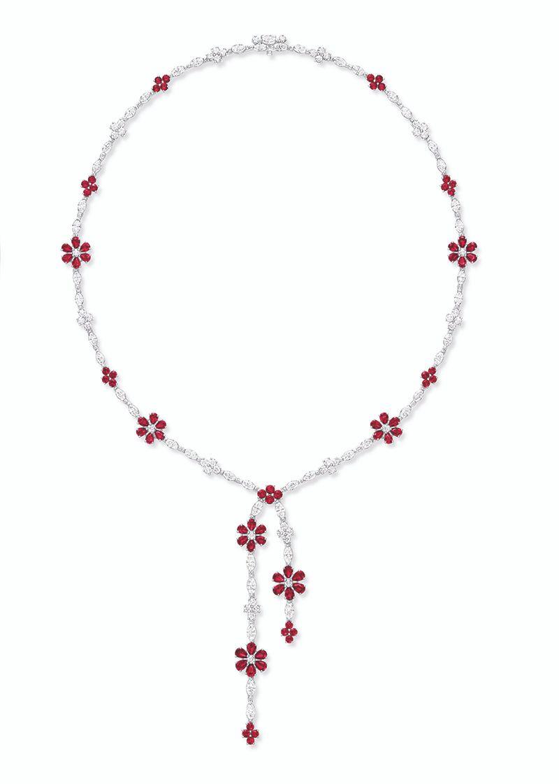 Колье Forget-Me-Not Diamond Lariat с рубинами в платине от Harry Winston