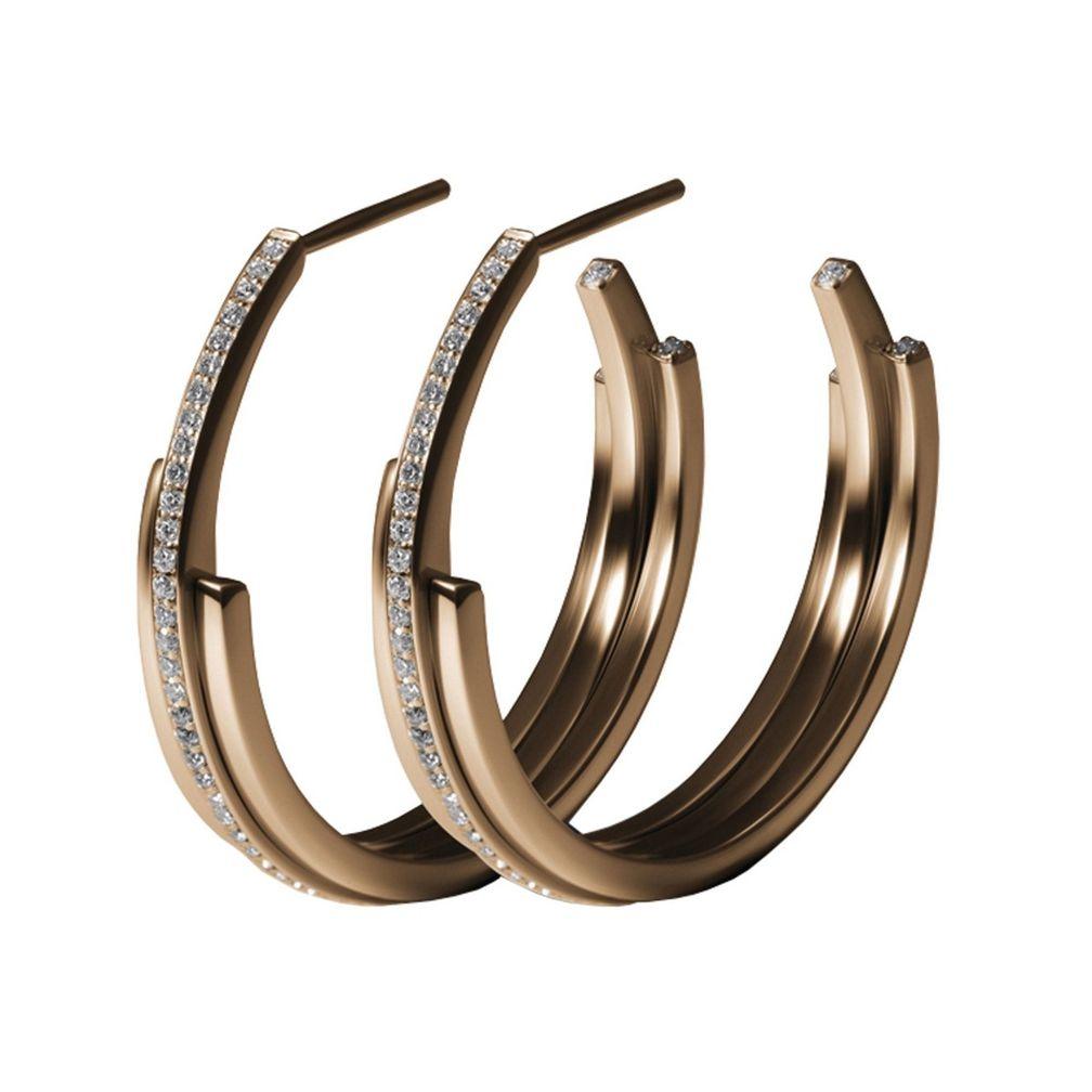 Серьги 3 Arc Hoop из розового золота с бриллиантами от Annette Welander
