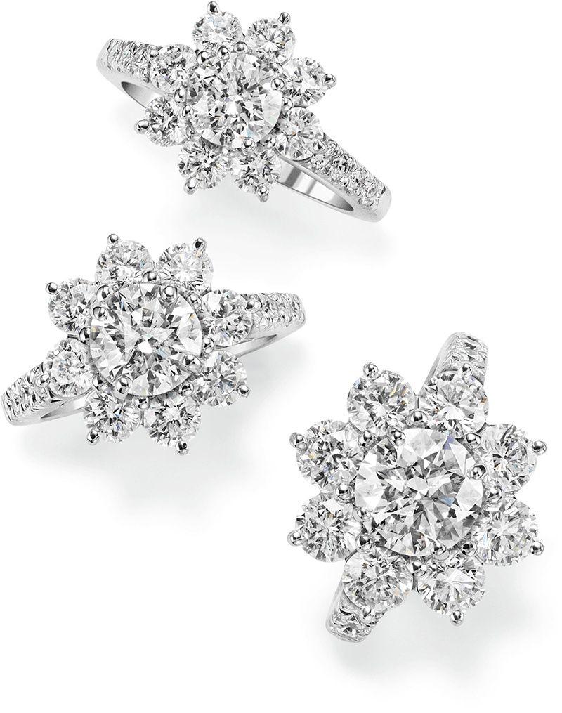 Три кольца в виде подсолнухов с бриллиантами в платине от Harry Winston