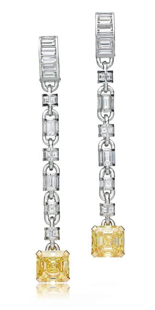 Серьги от Tiffany & Co. из платины и желтого золота с фантазийными ярко-желтыми и белыми бриллиантами