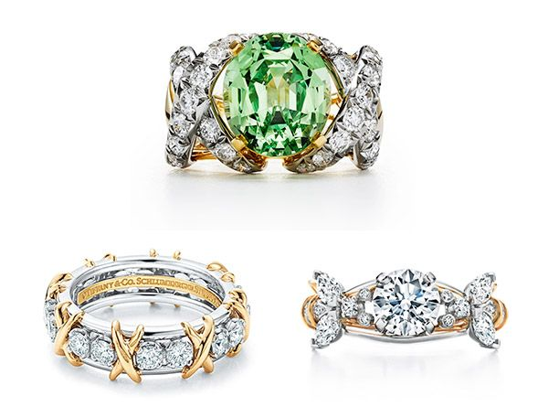 Кольцо Schlumberger, обручальное кольцо Schlumberger Two Bees, кольцо Schlumberger Sixteen Stone, все от Tiffany & Co.