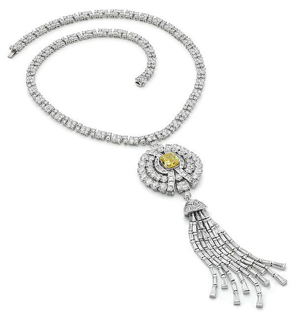 Ожерелье High Jewelry от Bulgari из платины с фантазийным ярко-желтым бриллиантом и белыми бриллиантами