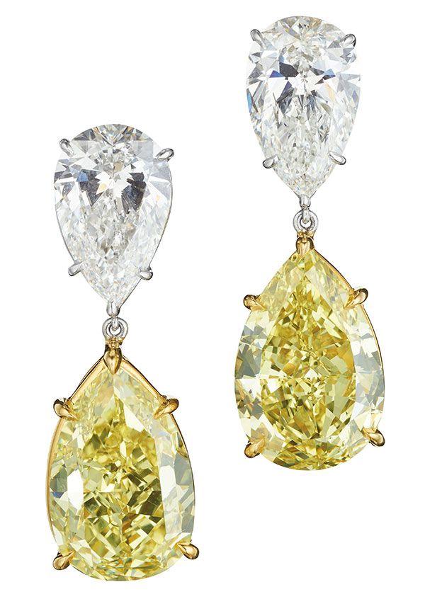 Серьги High Jewelry от Bulgari из платины с фантазийными желтыми и белыми бриллиантами