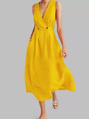 летний образ с желтым платьем