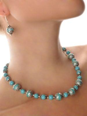 Ожерелье и серьги с бирюзой