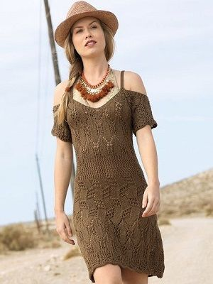 летнее коричневое платье