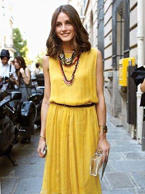 вечерний образ с желтым платьем