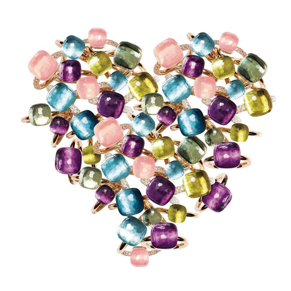 Кольца Nudo из розового золота с разноцветными топазами и белыми бриллиантами от Pomellato
