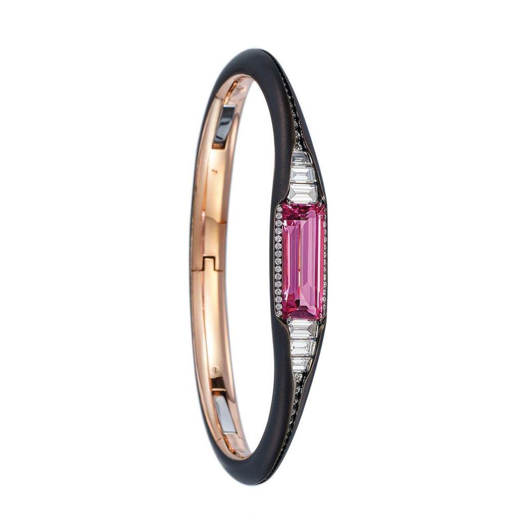 Браслет из розового золота и бронзы с розовой шпинелью и бриллиантами от Forms