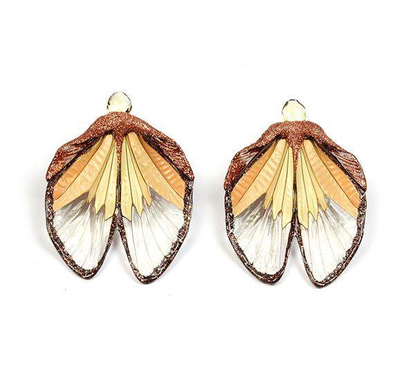 Серьги-пуссеты Sunset cicada с крыльями цикады, смолой, лаком, краской и гранатом