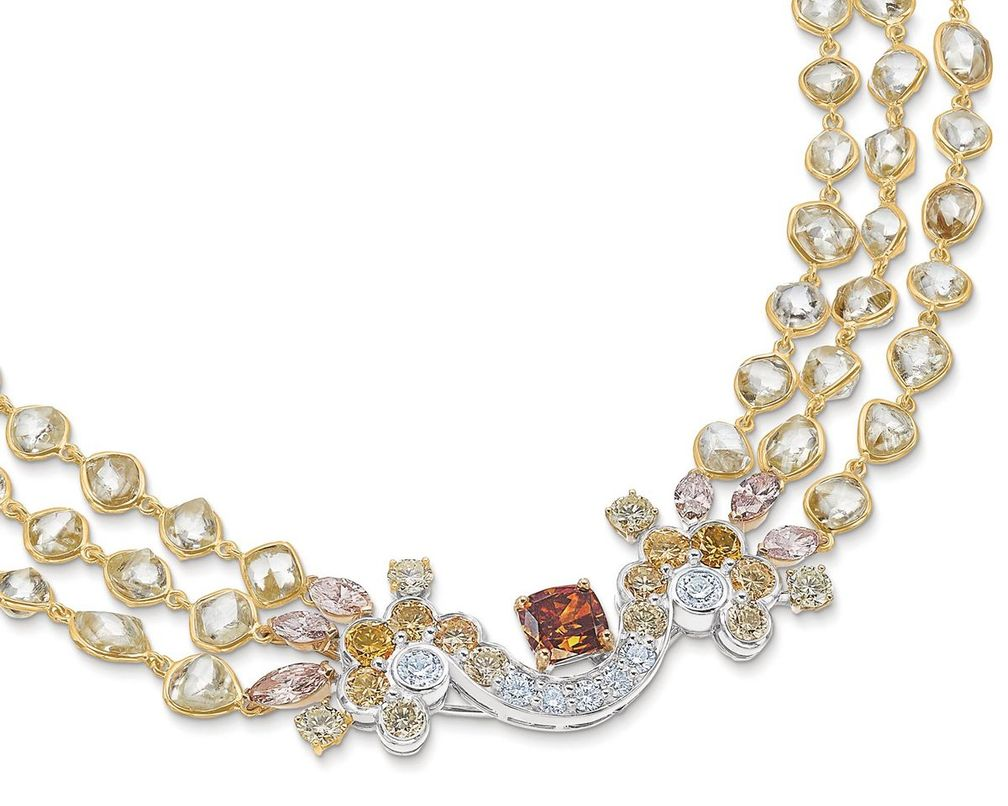 Колье-трансформер Landers Radiance из желтого, розового и белого золота с бриллиантами от De Beers