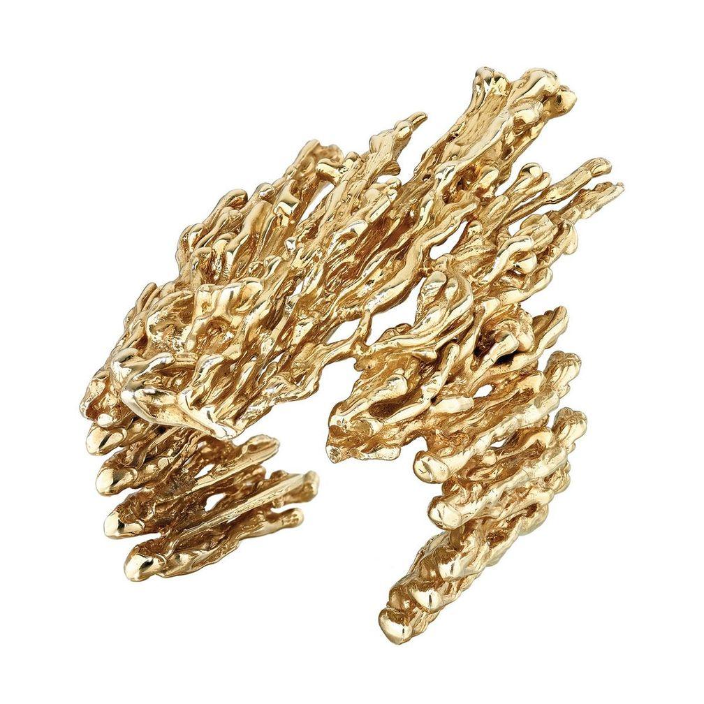 Магматический браслет-манжета из переработанного серебра и желтого золота vermeil от Emefa Cole