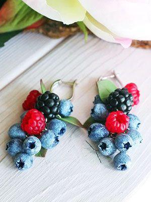 серьги гроздьями ягоды
