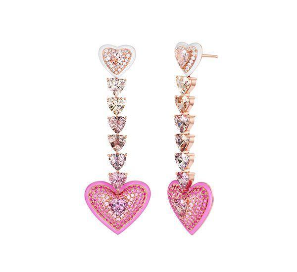 Уникальные серьги Love из розового золота 18 карат с сапфирами
