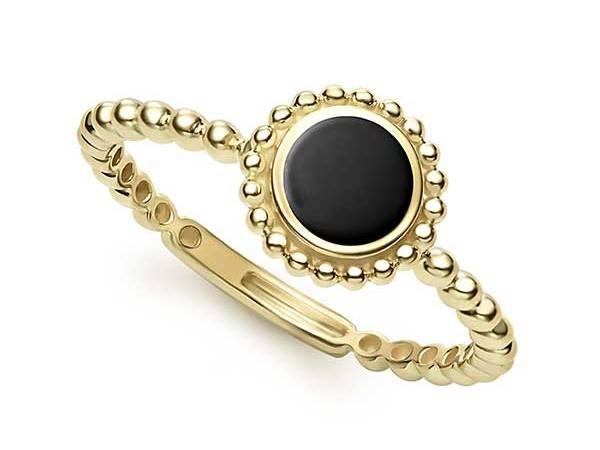 Кольцо Caviar из 18-каратного золота и оникса