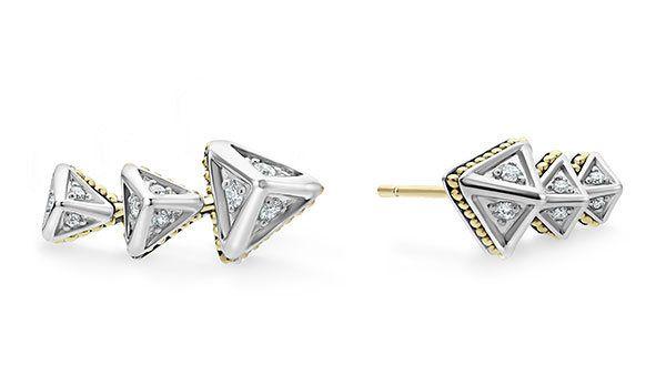 Серьги-клаймберы KSL из стерлингового серебра с золотом и бриллиантами