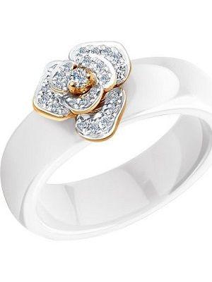 белое кольцо из керамики