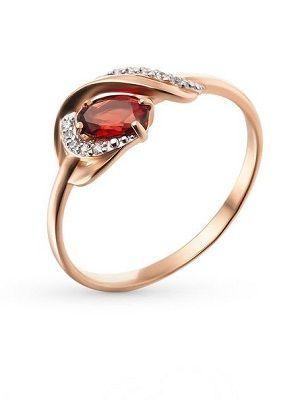 кольцо с гранатом и фианитами