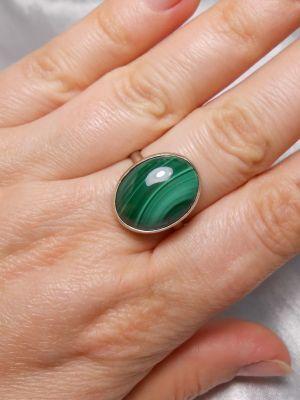 Классическое малахитовое кольцо из золота