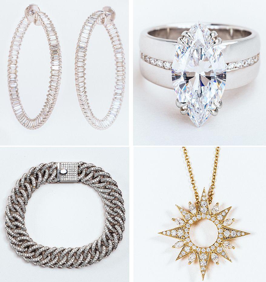 Серьги-кольца Dancing Twist; кольцо Marquise Bandeau; кулон Soleil; браслет Embrace Link