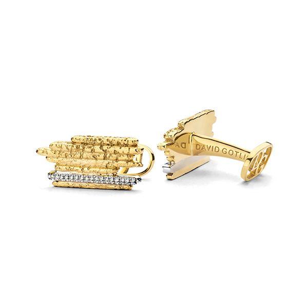 Запонки Golden Stripes из желтого золота 18 карат с бриллиантами