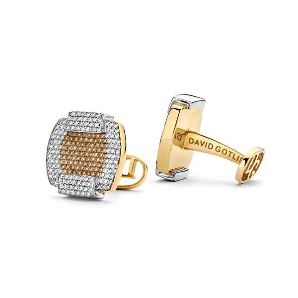 Запонки Madison из 18-каратного золота с белыми и коричневыми бриллиантами