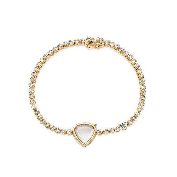 Теннисный браслет Something Blue Miasol из 18-каратного золота с бриллиантами и аквамарином, 10 000 долларов