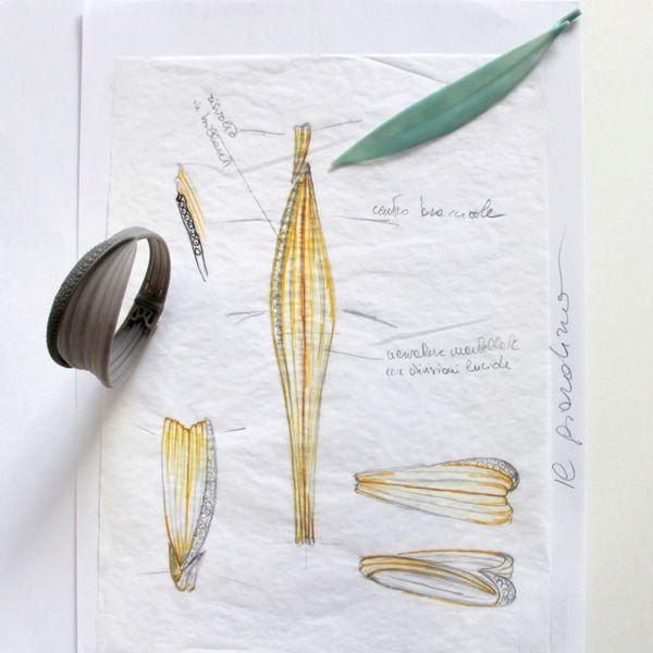 Эскизы сделанного вручную браслета с изогнутыми листьями Foglie70, цена по запросу