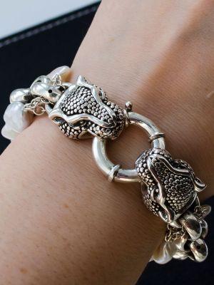 Мужской браслет из барочного жемчуга и серебра