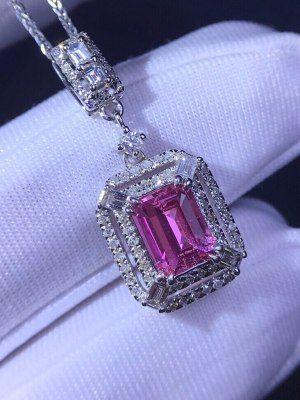 Кулон с розовым сапфиром