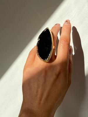 кольцо с огромным агатом