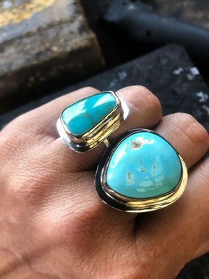 массивные кольца с бирюзой