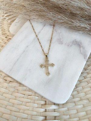 крестик из золота с камнями