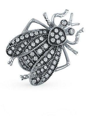 серебряная брошь-насекомое