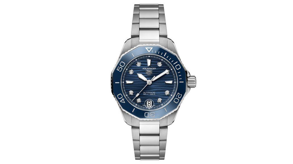 Часы TAG Heuer Aquaracer Professional 300 диаметром 36 мм, со стальным корпусом, синим керамическим циферблатом и бриллиантами