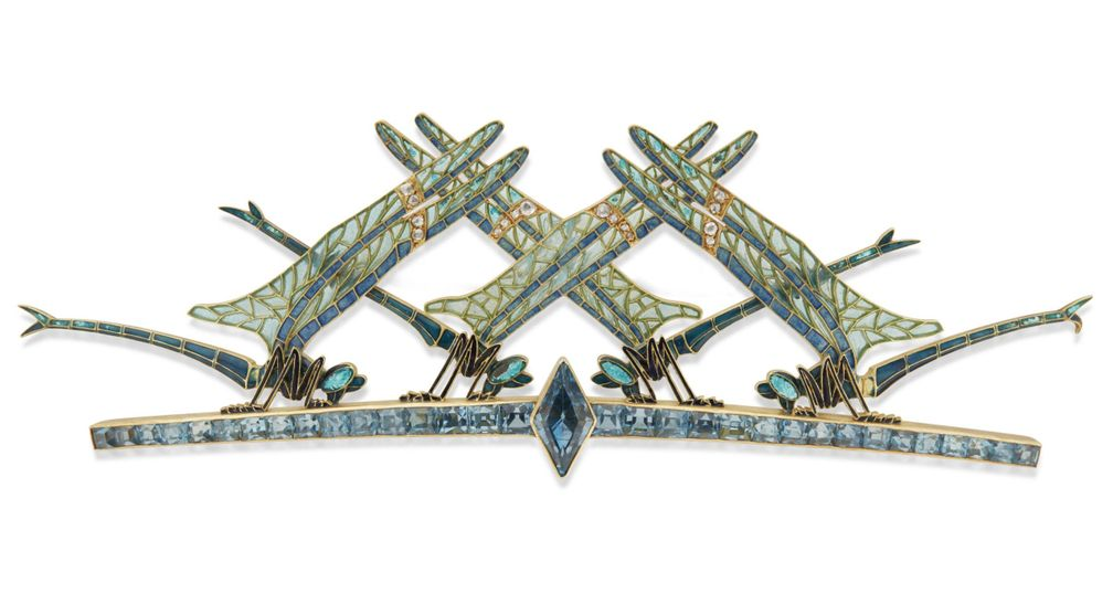 Брошь со стрекозами в стиле ар-нуво от Рене Лалика