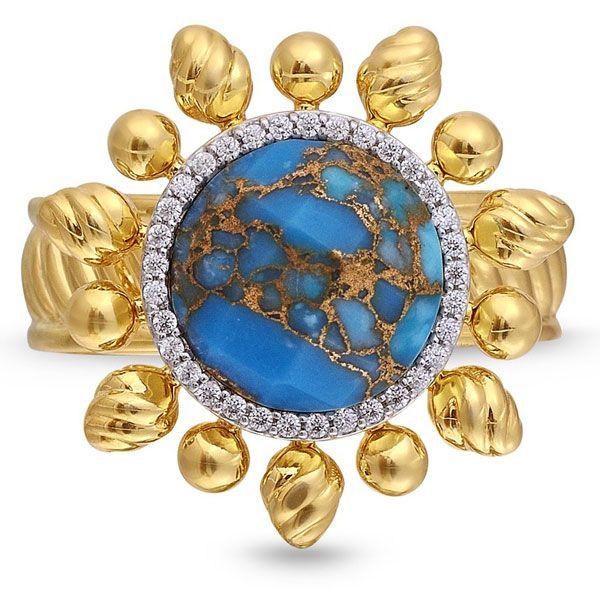 Кольцо Rise & Shine из стерлингового серебра, покрытого желтым золотом 14 карат, с бирюзой и бриллиантами
