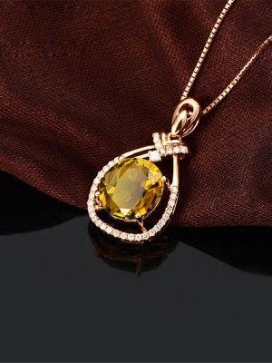 Кулон с цитрином и кристаллами Сваровски