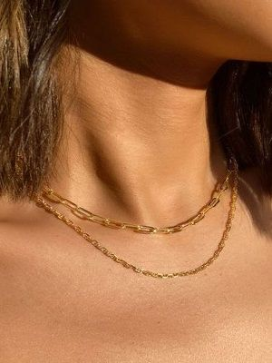 золотые цепочки на шее