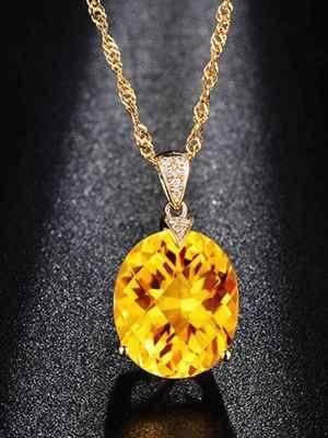 Центральный цитрин в обрамлении бриллиантов
