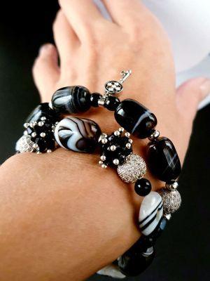Комбинированный женский браслет с ониксом