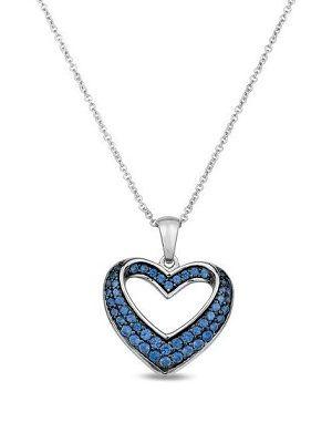 подвеска-сердце синего цвета