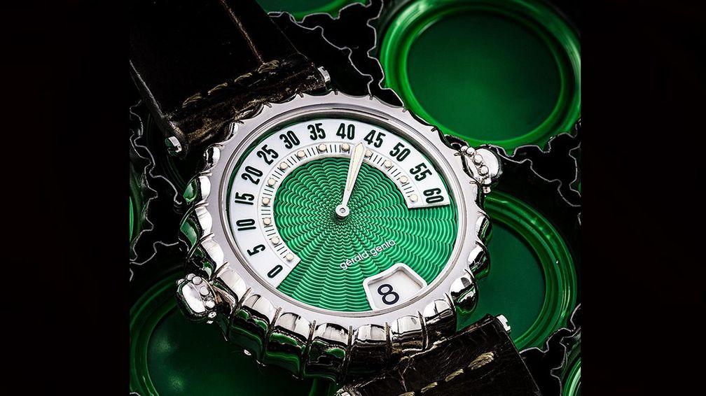 Платиновый минутный репетир Gérald Genta с зеленым гильошированным циферблатом (от 50 000 до 100 000 долларов)
