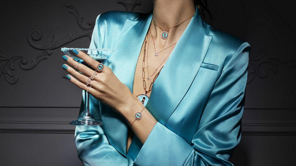 Бирюза, перламутр, малахит и лазурит придают цвет дизайну Messika с бриллиантами