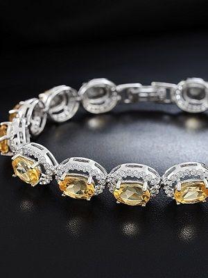 браслет с цитрином и кристаллами